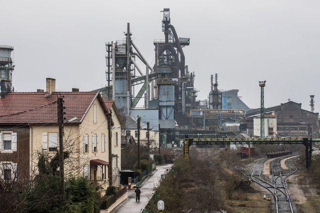 Hauts-fourneaux à l'arrêt à Hayange (Moselle). ArcelorMittal Florange, le 27 mars 2018.