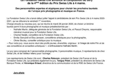 Communiqué : La Fondation Swiss Life annonce la composition du Jury de la 4ème édition du Prix Swiss Life à 4 mains