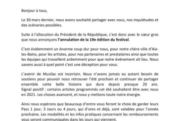 Musilac 2020- Annulation